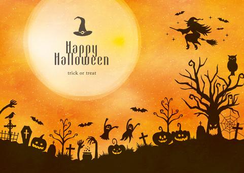 秋の背景フレーム037 ハロウィン 影絵
