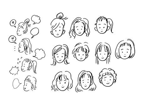Facial expression of a girl (顏 only)