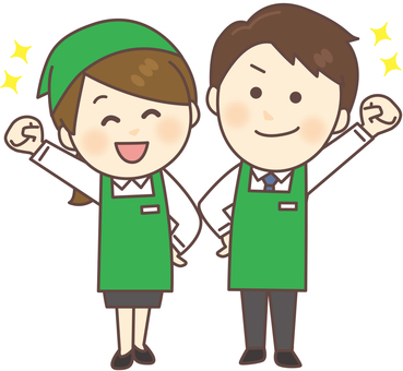 Super clerk _ men and women (green · whole body)