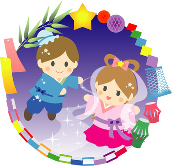Orihime and Hikoboshi in Tanabata decorative frame