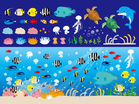Sea creatures set