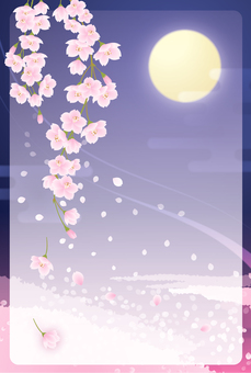 Weeping cherry blossoms and moonlight postcards (with frames)