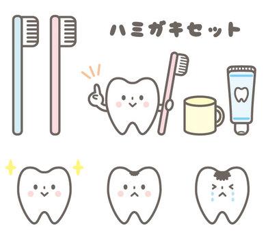 Cute toothpick toothbrush set