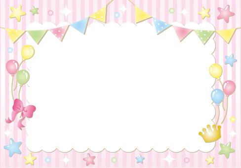 플래그 별 스트라이프 프레임 (핑크)