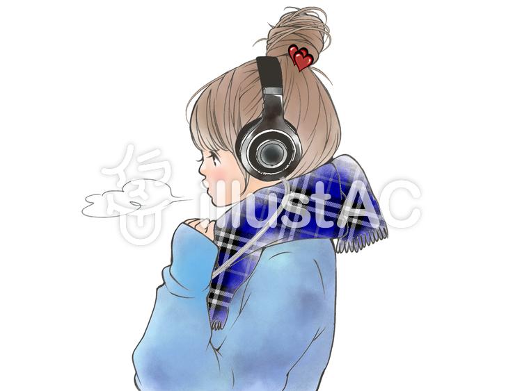 ヘッドフォンの女の子
