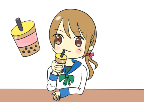 Illustration of a girl drinking tapioca