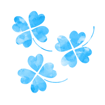 Four-leaf clover (blue watercolor style)