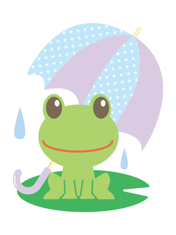 A frog with an umbrella