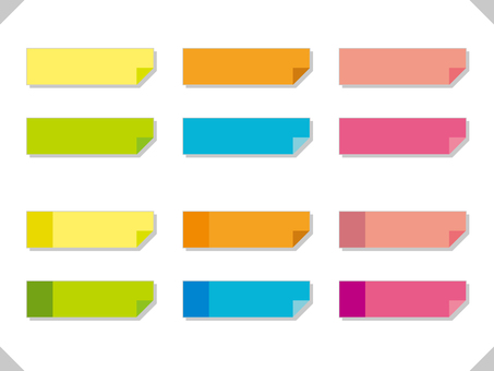 Color sticky note illustration frame set 02