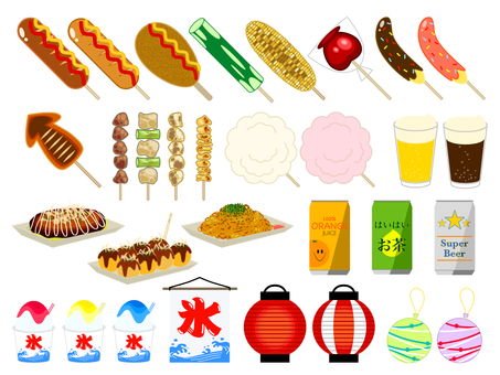 Summer festival food illustration set