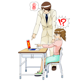Female elementary school student and male teacher PC class 3 cry