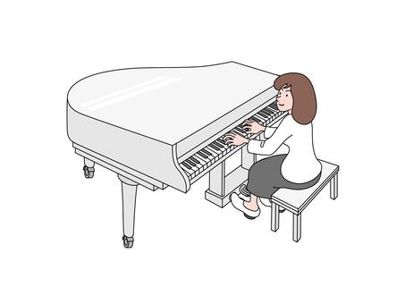 피아노를 연주하는 젊은 여자
