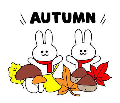 秋とウサギ(シンプル)