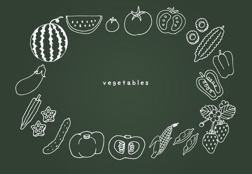 Summer vegetable set (line only - blackboard)