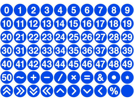 Numbers and symbols set Round (blue / blue)