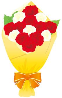 빨간색과 흰색 장미 꽃다발