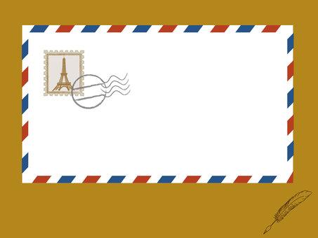 항공 우편과 깃털 펜 프레임