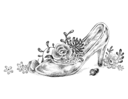 Glass shoes and flowers
