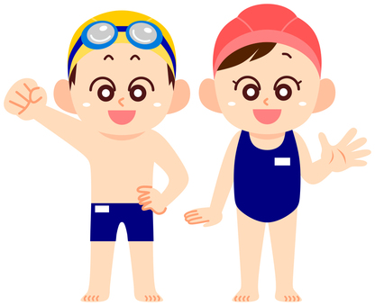 School swimsuit boy and girl