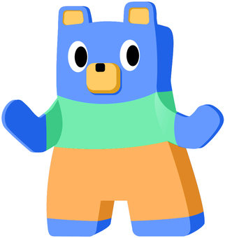 Blue bear, clothes wear
