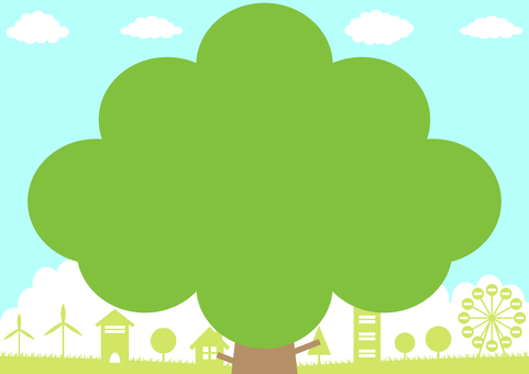 樹木 リーフフレーム 町並み
