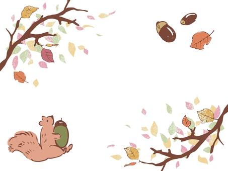 가을 다람쥐와 열매 프레임