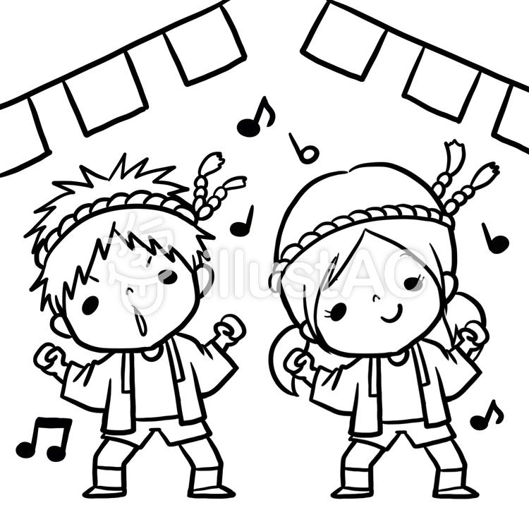 運動会お祭りダンス子供達線画塗り絵イラスト No 864607無料