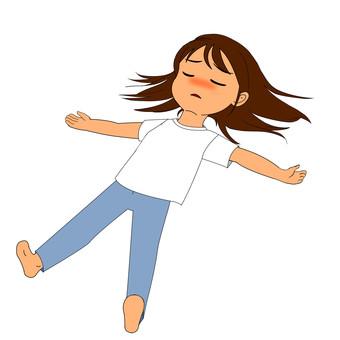 Falling lying down