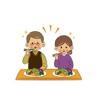 Senior eating salad