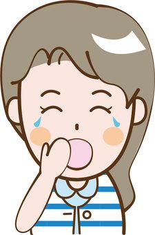 Adult women Short sleeve yawning