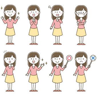 Cute female facial expression pose set / hand drawn