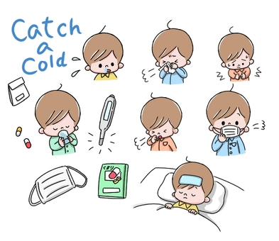 Set illustration of a boy catching a cold