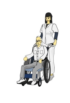 An old man with a nurse and a wheelchair