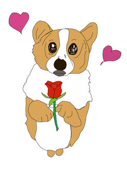 Roses and dogs in love