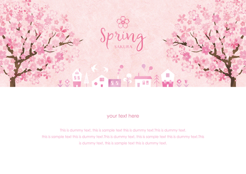 Spring background frame 031 Sakura city watercolor