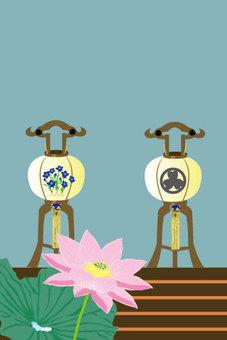 Lantern of Obon and Pink Lotus Flower Smurf Size