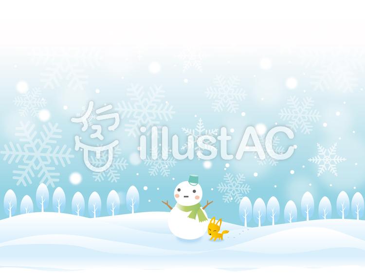 雪景色の風景のイラスト