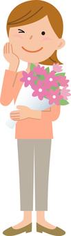 70214. Female, bouquet, full body