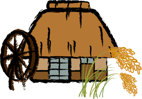 Thatched roof house and rice