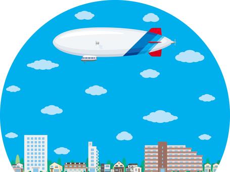 Airship city blue sky
