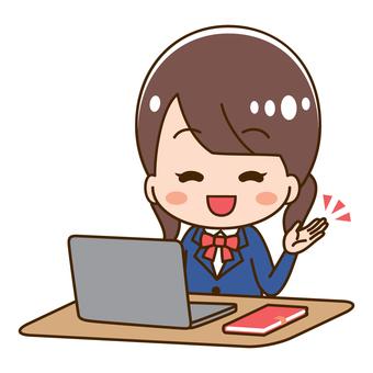 High school girl using a computer