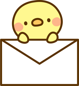 A chick carrying a letter