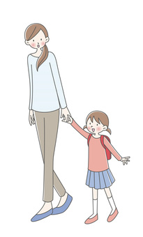 Parent and child, walking, holding hands
