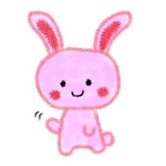 토끼가 손 흔들기 일러스트