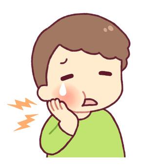 Children holding a cheek