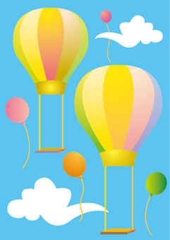 Shimashima pattern balloon and colorful balloon and white cloud