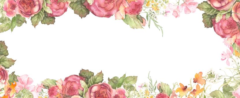 Subtle color rose frame, flower frame