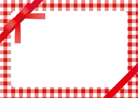 Gift card <red check × red ribbon>