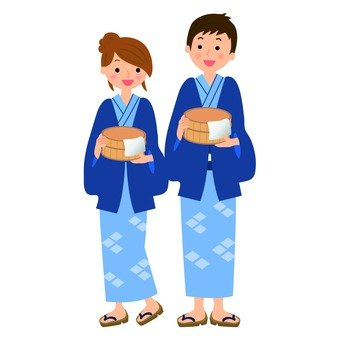 A couple in a yukata appearance