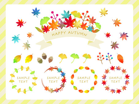 Autumn bright autumn leaves frame set